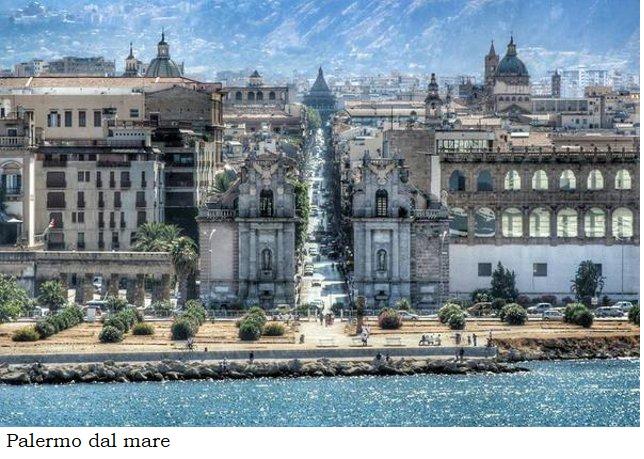 Palermo dal mare con didascalia